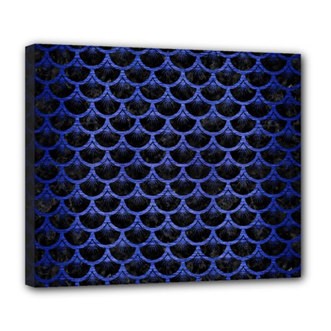 Scales3 Black Marble & Blue Brushed Metal Deluxe Canvas 24  X 20  (stretched) by trendistuff