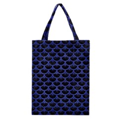 Scales3 Black Marble & Blue Brushed Metal Classic Tote Bag by trendistuff