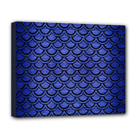 Scales2 Black Marble & Blue Brushed Metal (r) Deluxe Canvas 20  X 16  (stretched) by trendistuff