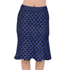 Scales1 Black Marble & Blue Brushed Metal Short Mermaid Skirt by trendistuff