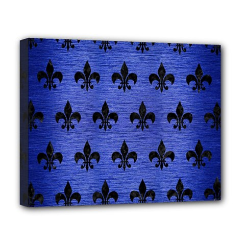 Royal1 Black Marble & Blue Brushed Metal Deluxe Canvas 20  X 16  (stretched) by trendistuff