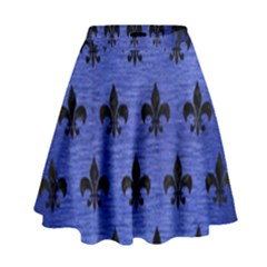 Royal1 Black Marble & Blue Brushed Metal High Waist Skirt by trendistuff