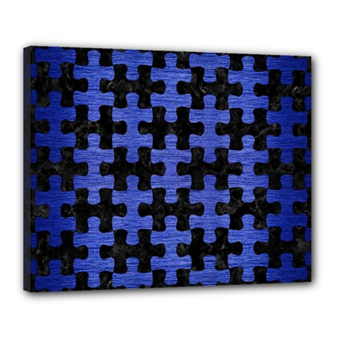 Puzzle1 Black Marble & Blue Brushed Metal Canvas 20  X 16  (stretched) by trendistuff