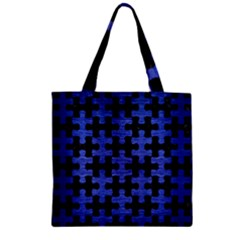 Puzzle1 Black Marble & Blue Brushed Metal Zipper Grocery Tote Bag by trendistuff