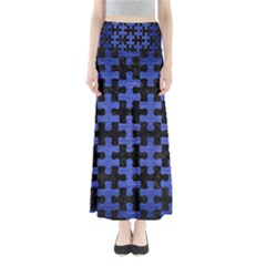 Puzzle1 Black Marble & Blue Brushed Metal Full Length Maxi Skirt by trendistuff