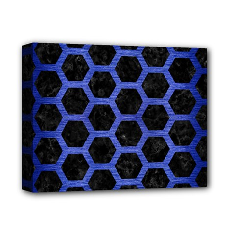 Hexagon2 Black Marble & Blue Brushed Metal Deluxe Canvas 14  X 11  (stretched) by trendistuff