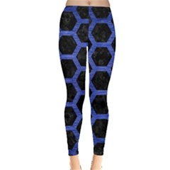 Hexagon2 Black Marble & Blue Brushed Metal Leggings  by trendistuff