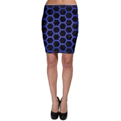 Hexagon2 Black Marble & Blue Brushed Metal Bodycon Skirt by trendistuff