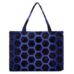 Hexagon2 Black Marble & Blue Brushed Metal Medium Zipper Tote Bag by trendistuff