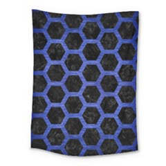 Hexagon2 Black Marble & Blue Brushed Metal Medium Tapestry by trendistuff