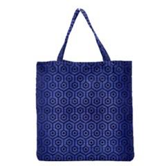 Hexagon1 Black Marble & Blue Brushed Metal (r) Grocery Tote Bag by trendistuff