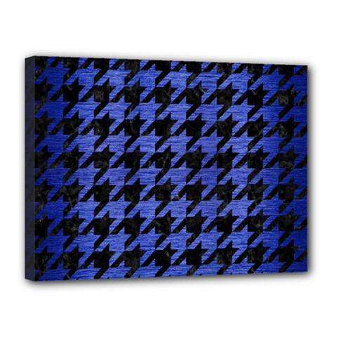 Houndstooth1 Black Marble & Blue Brushed Metal Canvas 16  X 12  (stretched) by trendistuff