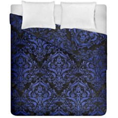Damask1 Black Marble & Blue Brushed Metal Duvet Cover Double Side (california King Size) by trendistuff