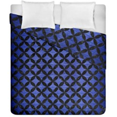 Circles3 Black Marble & Blue Brushed Metal (r) Duvet Cover Double Side (california King Size) by trendistuff