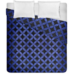Circles3 Black Marble & Blue Brushed Metal Duvet Cover Double Side (california King Size) by trendistuff