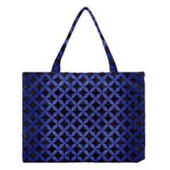 Circles3 Black Marble & Blue Brushed Metal Medium Tote Bag by trendistuff