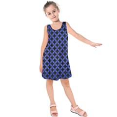 Circles3 Black Marble & Blue Brushed Metal Kids  Sleeveless Dress by trendistuff