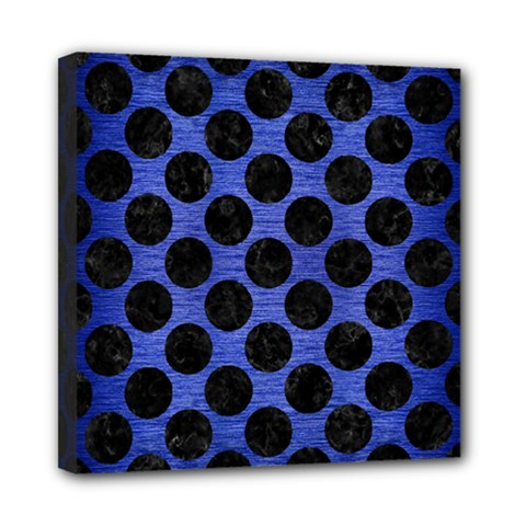 Circles2 Black Marble & Blue Brushed Metal (r) Mini Canvas 8  X 8  (stretched) by trendistuff