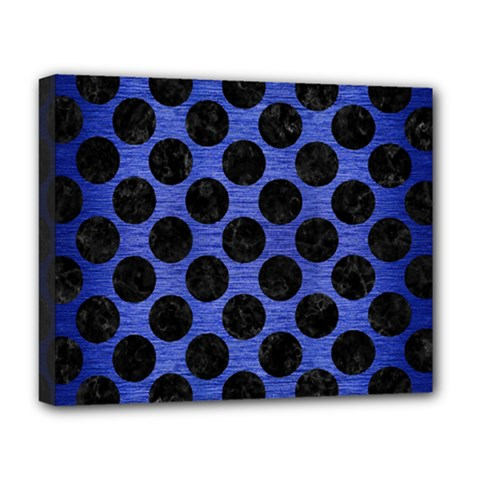 Circles2 Black Marble & Blue Brushed Metal (r) Deluxe Canvas 20  X 16  (stretched) by trendistuff