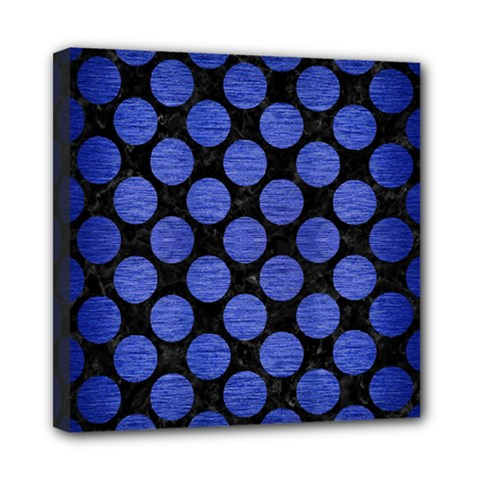 Circles2 Black Marble & Blue Brushed Metal Mini Canvas 8  X 8  (stretched) by trendistuff