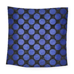 Circles2 Black Marble & Blue Brushed Metal Square Tapestry (large) by trendistuff
