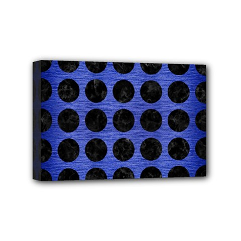 Circles1 Black Marble & Blue Brushed Metal (r) Mini Canvas 6  X 4  (stretched) by trendistuff
