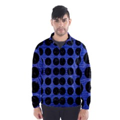 Circles1 Black Marble & Blue Brushed Metal (r) Wind Breaker (men) by trendistuff