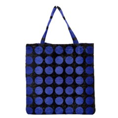 Circles1 Black Marble & Blue Brushed Metal Grocery Tote Bag by trendistuff