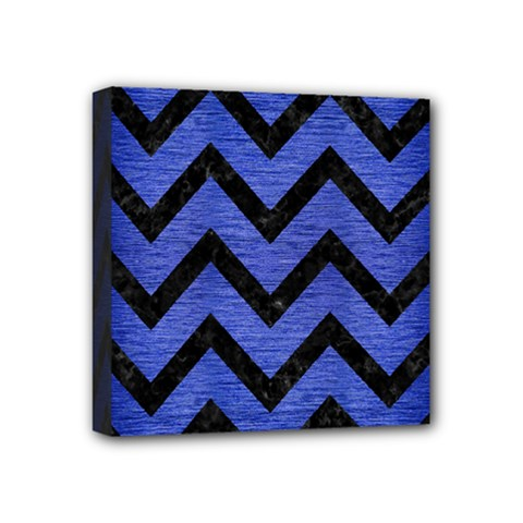 Chevron9 Black Marble & Blue Brushed Metal (r) Mini Canvas 4  X 4  (stretched) by trendistuff