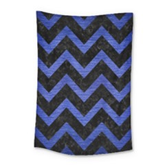 Chevron9 Black Marble & Blue Brushed Metal Small Tapestry by trendistuff