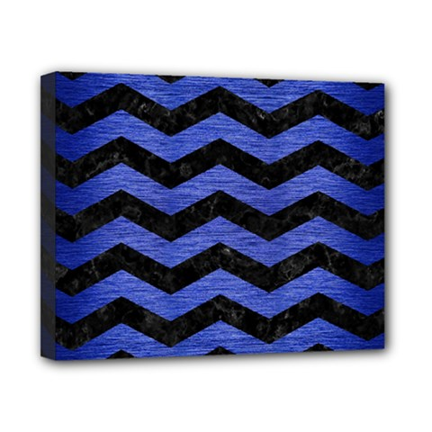 Chevron3 Black Marble & Blue Brushed Metal Canvas 10  X 8  (stretched) by trendistuff