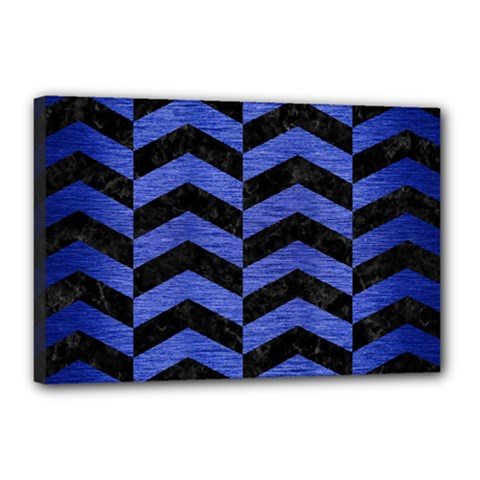 Chevron2 Black Marble & Blue Brushed Metal Canvas 18  X 12  (stretched) by trendistuff