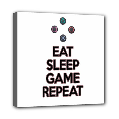 Eat Sleep Game Repeat Mini Canvas 8  X 8  by Valentinaart