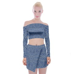 Intricate Geometric Print Off Shoulder Top With Skirt Set