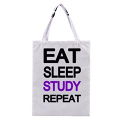 Eat Sleep Study Repeat Classic Tote Bag by Valentinaart