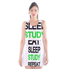 Eat sleep study repeat Scoop Neck Skater Dress by Valentinaart