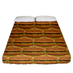 Delicious Burger Pattern Fitted Sheet (queen Size) by berwies