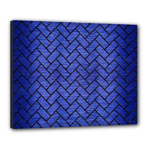 Brick2 Black Marble & Blue Brushed Metal (r) Canvas 20  X 16  (stretched) by trendistuff