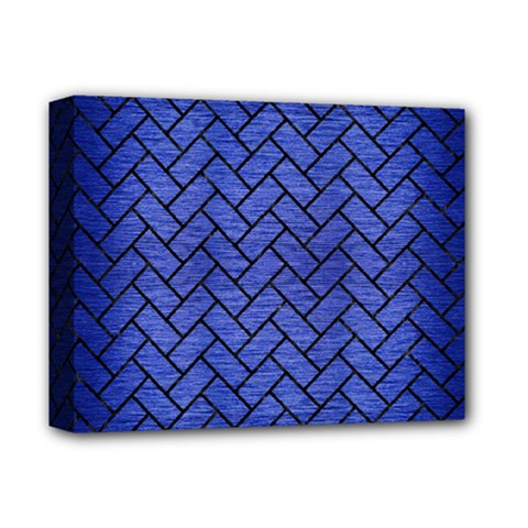 Brick2 Black Marble & Blue Brushed Metal (r) Deluxe Canvas 14  X 11  (stretched) by trendistuff