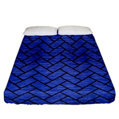 Brick2 Black Marble & Blue Brushed Metal (r) Fitted Sheet (queen Size) by trendistuff
