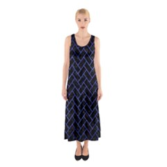 Brick2 Black Marble & Blue Brushed Metal Sleeveless Maxi Dress by trendistuff