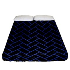 Brick2 Black Marble & Blue Brushed Metal Fitted Sheet (queen Size) by trendistuff