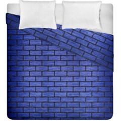 Brick1 Black Marble & Blue Brushed Metal (r) Duvet Cover Double Side (king Size) by trendistuff