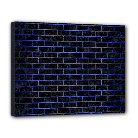 Brick1 Black Marble & Blue Brushed Metal Canvas 14  X 11  (stretched) by trendistuff