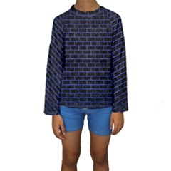 Brick1 Black Marble & Blue Brushed Metal Kids  Long Sleeve Swimwear by trendistuff
