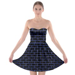 Brick1 Black Marble & Blue Brushed Metal Strapless Bra Top Dress by trendistuff