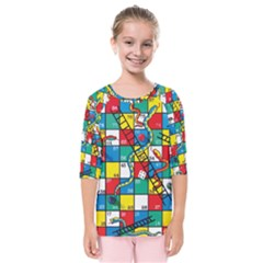 Snakes And Ladders Kids  Quarter Sleeve Raglan Tee by Gogogo