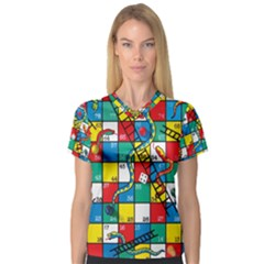 Snakes And Ladders Women s V-Neck Sport Mesh Tee by Gogogo