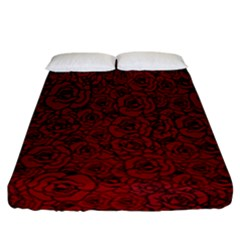 Red Roses Field Fitted Sheet (california King Size)