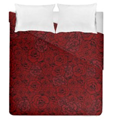 Red Roses Field Duvet Cover Double Side (queen Size)